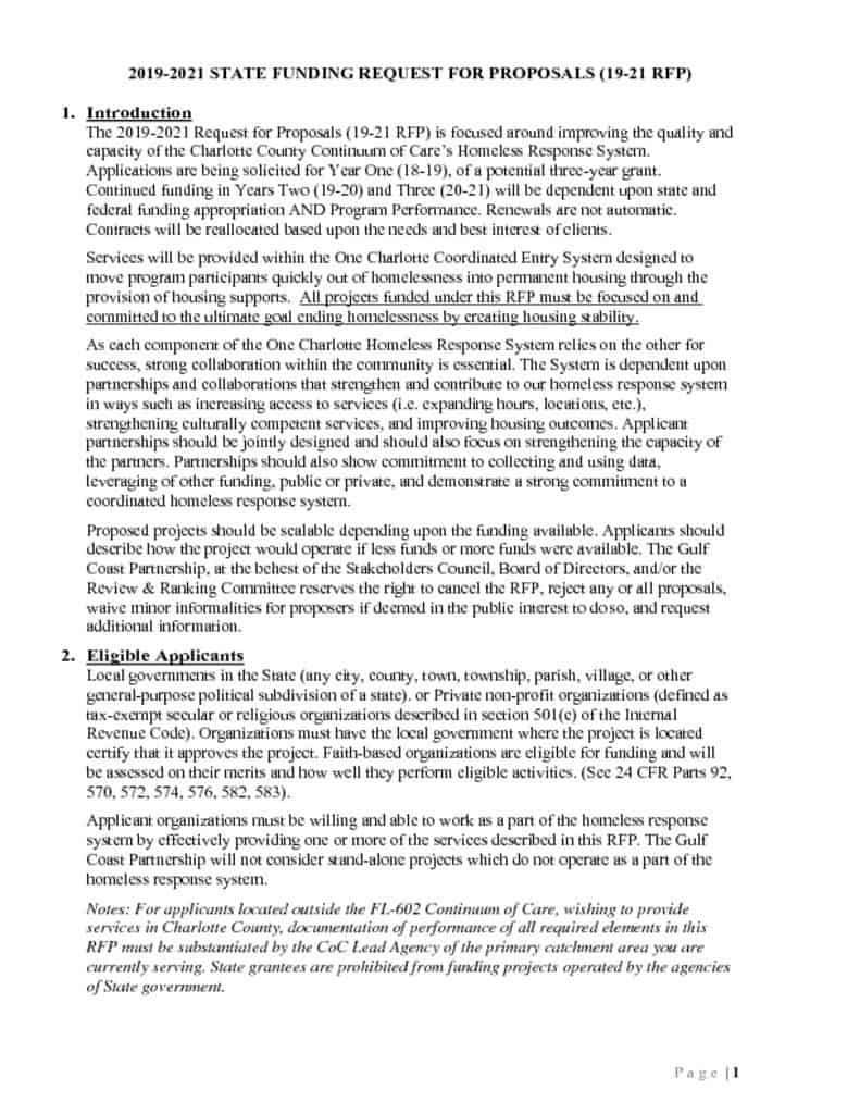 RFP for State Funding Issued