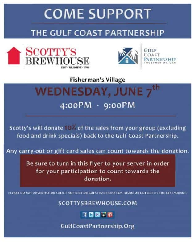 Gulf Coast Partnership Fundraising Dinner at Scotty's Brewhouse