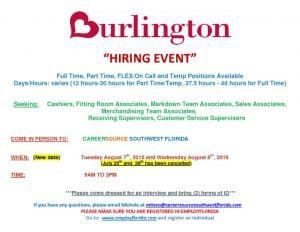 thumbnail of BURLINGTON HIRING EVENT~Aug 7 and 8~2018